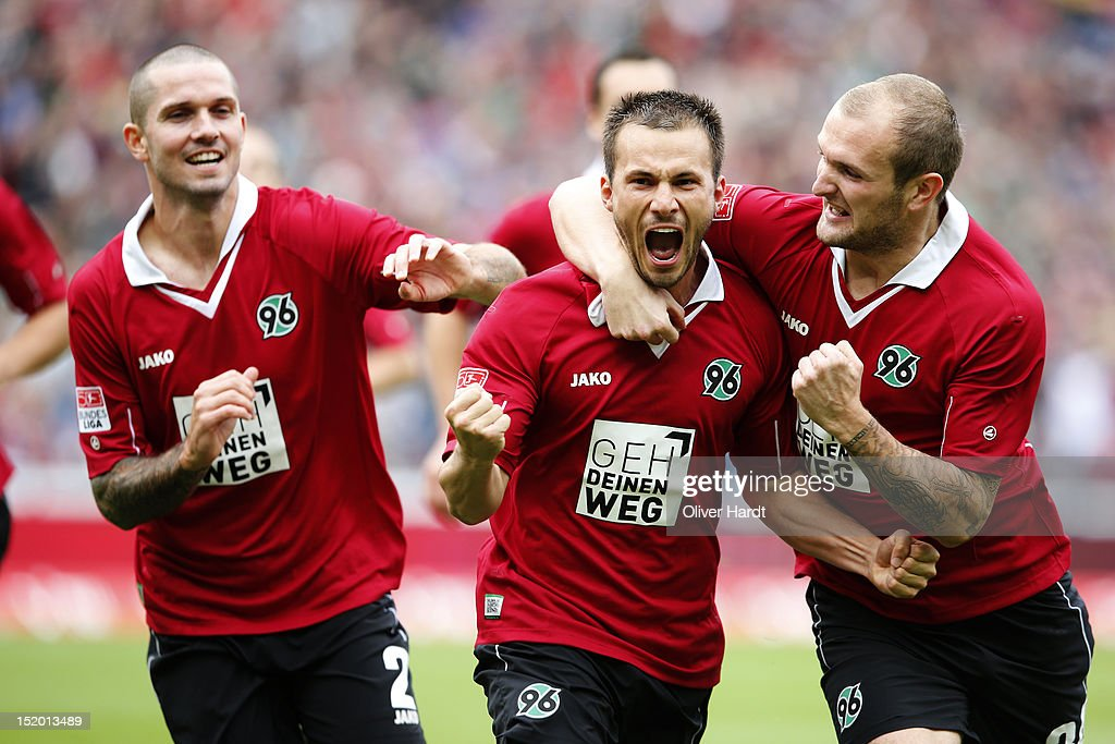 Szabolcs Huszti (C) of Hannover celebrates after scoring their first goal during the 1 Bundesliga match between Hannover 96 and Werder Bremen at AWD Arena on September 15, 2012 in Hannover, Germany.