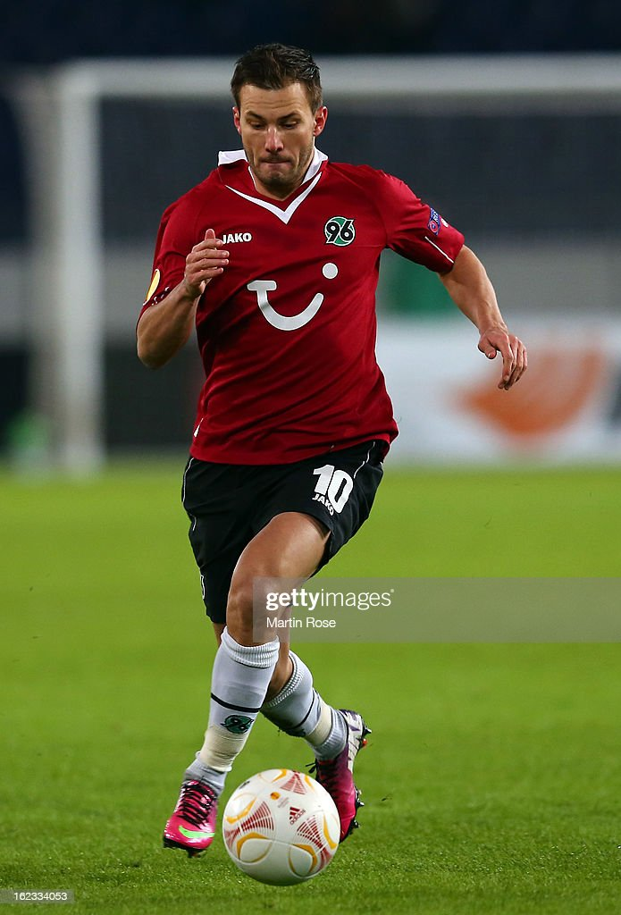 Szabolcs Huszti of Hannover runs with the ball during the UEFA Europa League Round of 32 second leg match between Hannover 96 and Anji Makhachkala at AWD Arena on February 21, 2013 in Hannover, Germany.