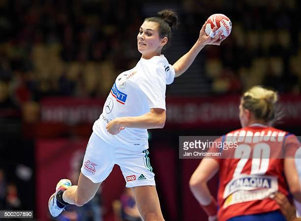 Szandra SzollosiZacsik of Hungary in action during the 22nd IHF Women's Handball World Championship match between Japan and Montenegro in Jyske Bank...