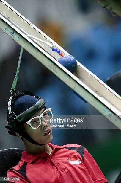 Sze Ning Toh of Singapore competes in the Boccia Mixed Pairs BC3 Bronze Medal Match at Carioca Arena 2 on day 5 of the Rio 2016 Paralympic Games at...