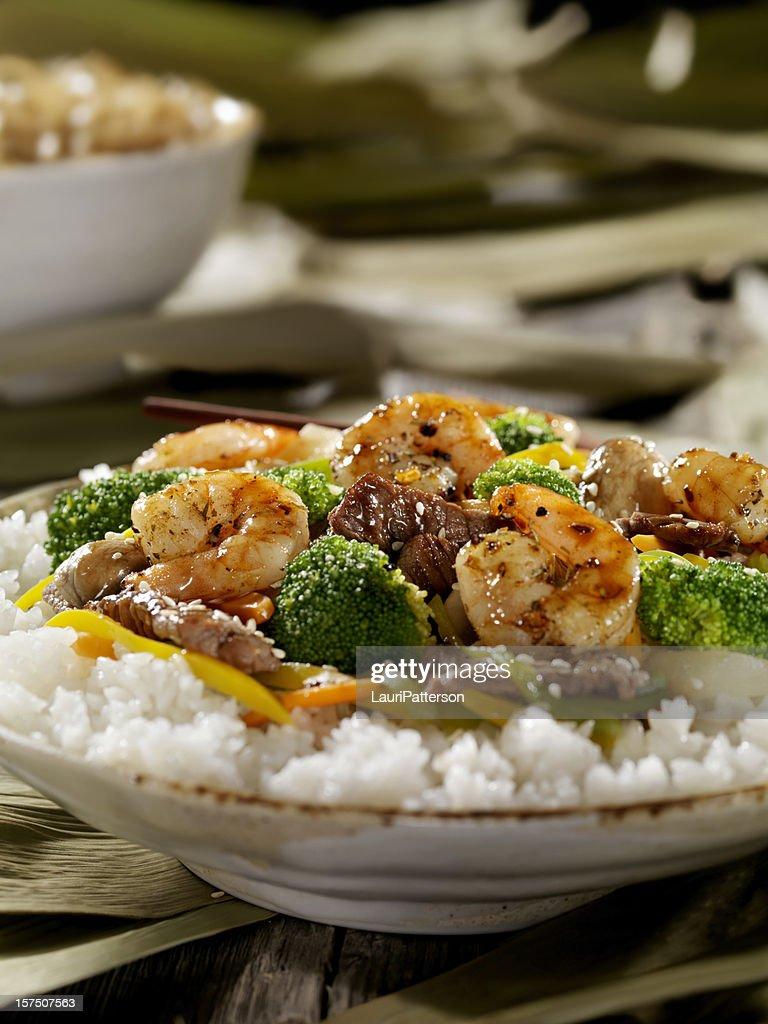 Szechuan Beef and Shrimp Stirfry : Stock Photo