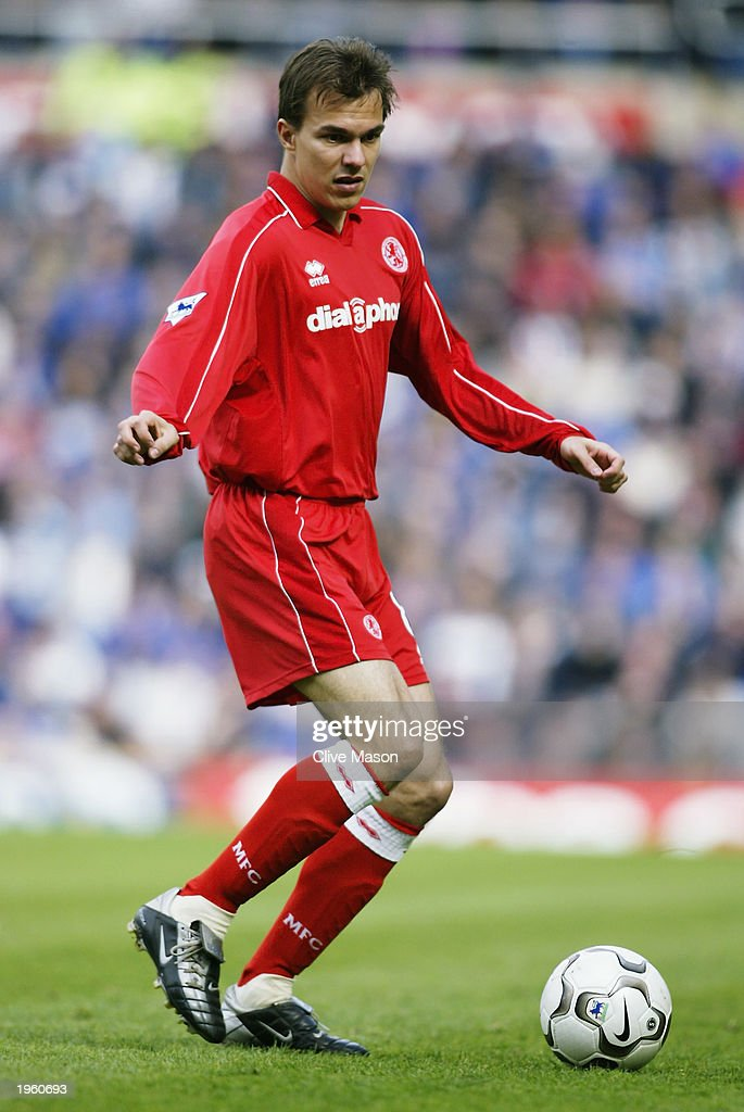 Szilard Nemeth of Middlesbrough runs with the ball during the FA Barclaycard Premiership match between Birmingham City and Middlesbrough held on April 26, 2003 at St Andrews, in Birmingham, England. Birmingham City won the match 3-0.