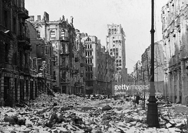 Szpitalna street in warsaw poland in ruins at the end of world war ll in 1945