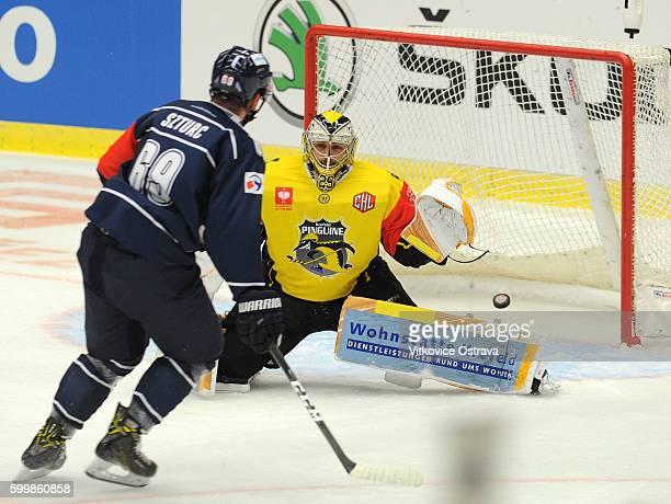 Szturc Roman of Vitkovice Ostrava scores during the Champions Hockey League match between Vitkovice Ostrava and Krefeld Pinguine at Ostrava Arena on...