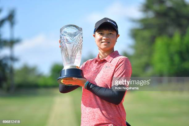 SzuHan Chen of Chinese Taipei pose with a winner's trophy after the final round of the Route Inn Cup Ueda Maruko Granvrio Ladies at Grandvrio Golf...