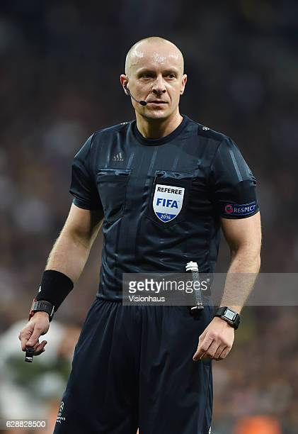 Szymon Marciniak of Poland during the UEFA Champions League match between Real Madrid CF and Borussia Dortmund at Bernabeu on December 7 2016 in...