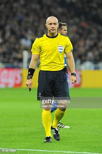 Szymon MARCINIAK referee during the Champions League match between Lyon and Juventus at Stade des Lumieres on October 18 2016 in DecinesCharpieu...