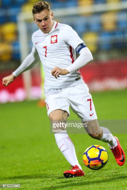 Szymon Zurkowski in action during UEFA U21 Championship Qualifier match between Poland and Denmark on November 14 2017 in Gdynia Poland