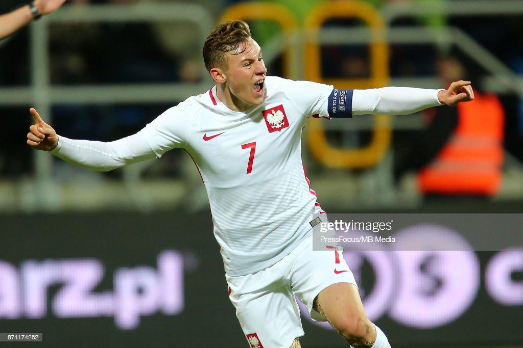 Szymon Zurkowski of Poland celebrates scoring a goal during UEFA U21 Championship Qualifier match between Poland and Denmark on November 14, 2017 in Gdynia, Poland.