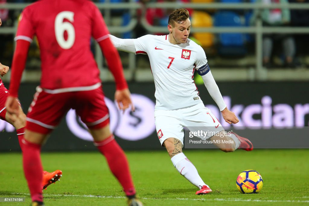 Szymon Zurkowski of Poland scores a goal during UEFA U21 Championship Qualifier match between Poland and Denmark on November 14, 2017 in Gdynia, Poland.