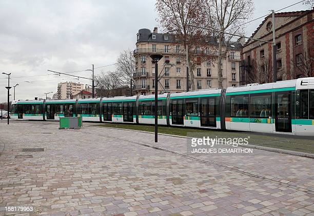 A T3b tramway operates on a test run at porte de La Villette in Paris on December 10 ahead of the inauguration of the route linking porte de...