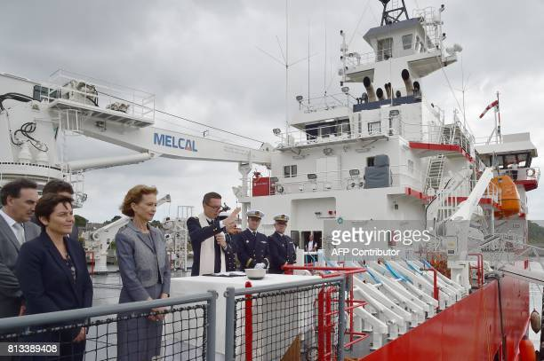 Taaf Prefect Cecile Pozzo di Borgo and French Overseas Minister Annick Girardin attend the inauguration ceremony of the Astrolabe a polar logistic...