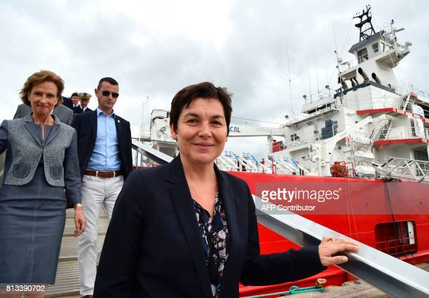 Taaf Prefect Cecile Pozzo di Borgo and French Overseas Minister Annick Girardin visit the ship during the inauguration ceremony of the Astrolabe a...