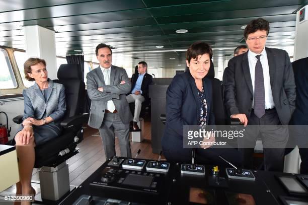 Taaf Prefect Cecile Pozzo di Borgo French Overseas Minister Annick Girardin and Piriou shipyard president Pascal Piriou visit the wheelhouse during...