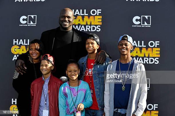 Taahirah O'Neal host Shaquille O'Neal Shareef O'Neal Me'arah O'Nea Shaqir O'Neall and Myles O'Neal attends the Third Annual Hall of Game Awards...