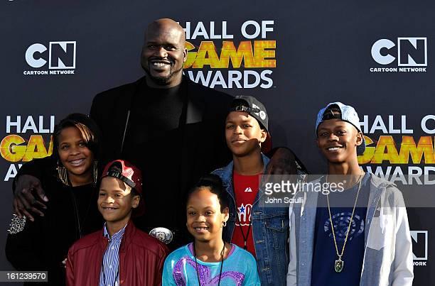 Taahirah O'Neal host Shaquille O'Neal Shareef O'Neal Me'arah O'Nea Shaqir O'Neall and Myles O'Neal attend the Third Annual Hall of Game Awards hosted...