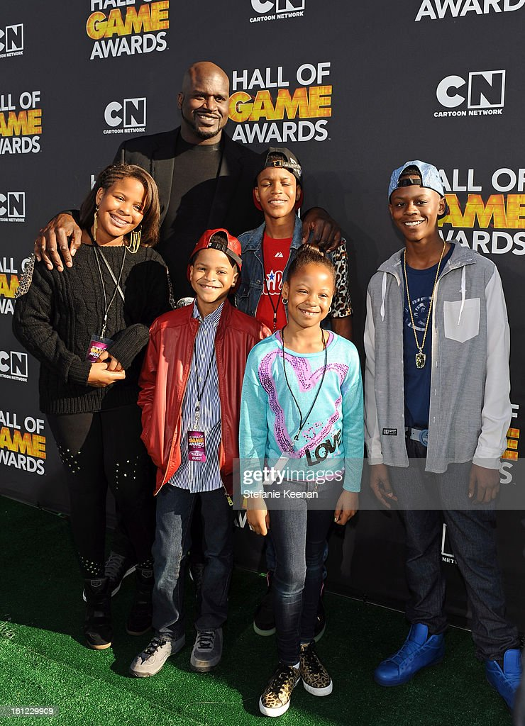 Taahirah O'Neal, host Shaquille O'Neal, Shareef O'Neal, Shaqir O'Neal, Me'arah O'Neal and Myles O'Neal attend the Third Annual Hall of Game Awards hosted by Cartoon Network at Barker Hangar on February 9, 2013 in Santa Monica, California. 23270_002_SK_0842.JPG