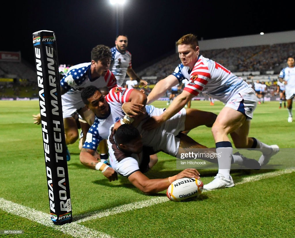 Taane Milne of Fiji scores a try during the 2017 Rugby League World Cup match between Fiji and the United States on October 28, 2017 in Townsville, Australia.