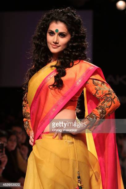 Taapsee Pannu showcases designs by Gaurang during day 3 of Lakme Fashion Week Winter/Festive 2014 at The Palladium Hotel on August 22 2014 in Mumbai...