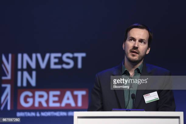 Taavet Hinrikus cofounder and chief executive officer of TransferWise Ltd speaks during the International Fintech Conference in London UK on...