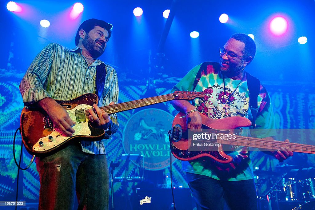 <a gi-track='captionPersonalityLinkClicked' href=/galleries/search?phrase=Tab+Benoit&family=editorial&specificpeople=649861 ng-click='$event.stopPropagation()'>Tab Benoit</a> and George Porter, Jr. perform at George Porter, Jr.'s Birthday Bash at The Howlin' Wolf on December 26, 2012 in New Orleans, Louisiana.