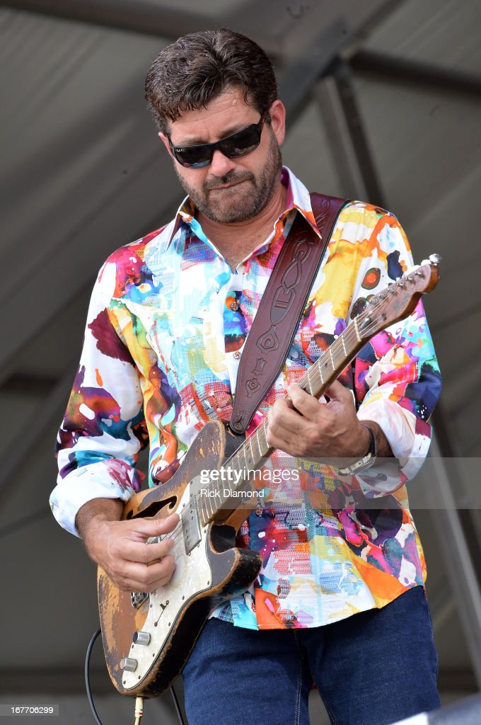 <a gi-track='captionPersonalityLinkClicked' href=/galleries/search?phrase=Tab+Benoit&family=editorial&specificpeople=649861 ng-click='$event.stopPropagation()'>Tab Benoit</a> of Voices of the Wetlands All-Stars performs during the 2013 New Orleans Jazz & Heritage Music Festival at Fair Grounds Race Course on April 27, 2013 in New Orleans, Louisiana.