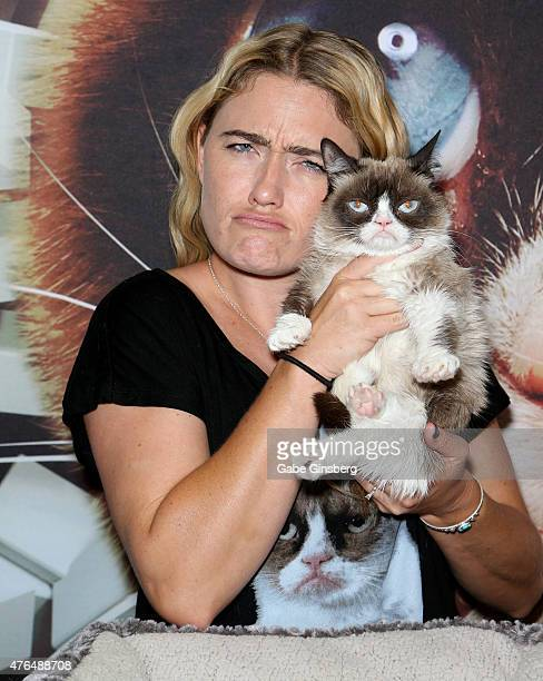 Tabatha Bundesen holds Grumpy Cat as she attends the Licensing Expo 2015 at the Mandalay Bay Convention Center on June 9 2015 in Las Vegas Nevada