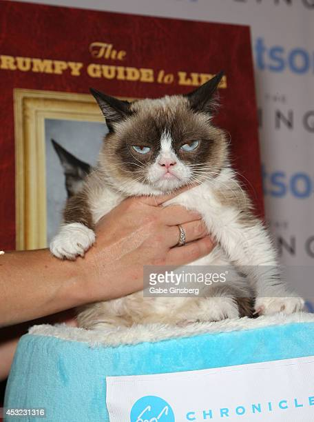 Tabatha Bundesen holds Grumpy Cat as they attend 'The Grumpy Guide to Life Observations By Grumpy Cat' book launch at Kitson Las Vegas on August 5...