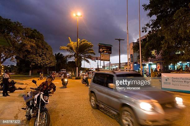 Tabatinga Federative Republic of Brazil Leticia Amazonas Republic of Colombia August 6 2015 People cross the border between Forte de São Francisco...