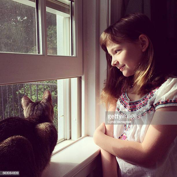 Tabby Cat and Little Girl