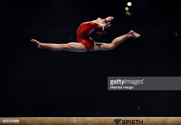 Tabe Alt of MTV Stuttgart competes on the Beam during the Women's DTL Finals 2015 at Messehalle 2 on December 5 2015 in Karlsruhe Germany