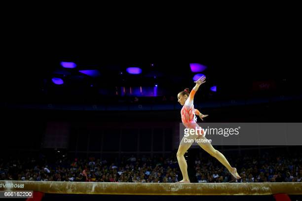 Tabea Alt of Germany competes on the beam during the women's competition for the iPro Sport World Cup of Gymnastics at The O2 Arena on April 8 2017...