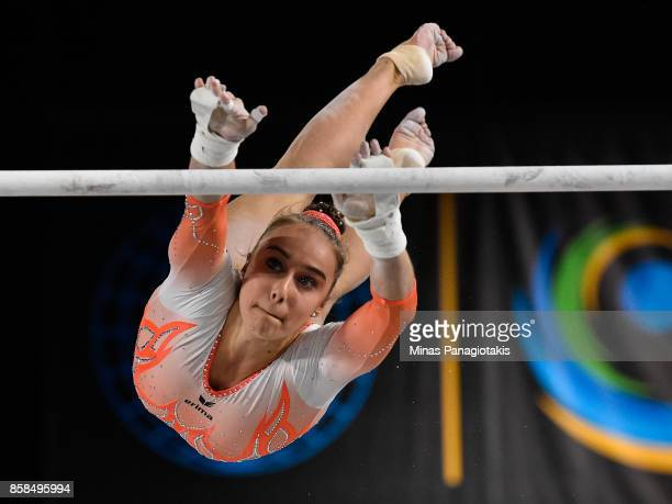 Tabea Alt of Germany competes on the uneven bars during the women's individual allaround final of the Artistic Gymnastics World Championships on...