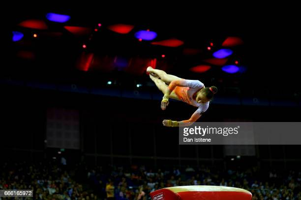 Tabea Alt of Germany competes on the vault during the women's competition for the iPro Sport World Cup of Gymnastics at The O2 Arena on April 8 2017...