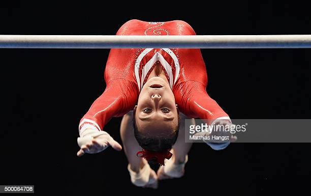 Tabea Alt of MTV Stuttgart competes in the Uneven Bar during the Women's DTL Finals 2015 at Messehalle 2 on December 5 2015 in Karlsruhe Germany