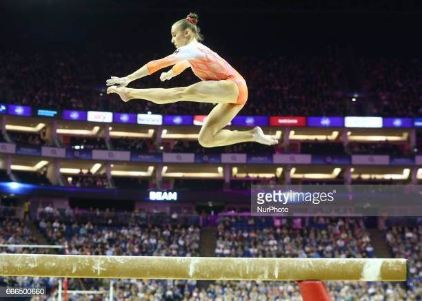 Tabea Alt on on Beam during the IPRO Sport World Cup of Gymnastics at The O2 Arena London England on 08 April 2017