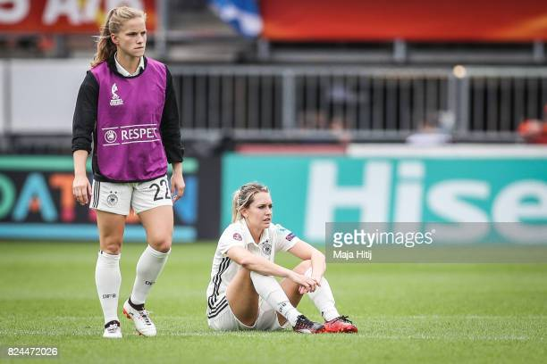 Tabea Kemme and Lena Goessling of Germany react after the UEFA Women's Euro 2017 Quarter Final match between Germany and Denmark at Sparta Stadion on...