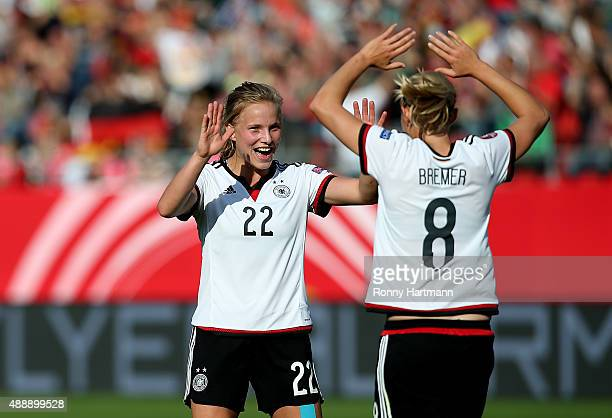 Tabea Kemme and Pauline Bremer of Germany celebrate after scoring during the UEFA Women's Euro 2017 Qualifier between Germany and Hungary at Erdgas...