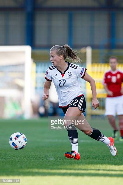 Tabea Kemme of Germany controls the ball during the UEFA Women's Euro 2017 Qualifier between Hungary and Germany at Gyirmot Stadium on September 20...