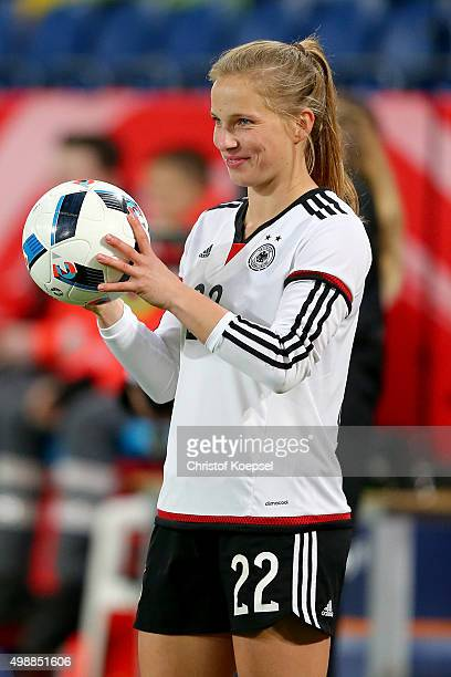 Tabea Kemme of Germany does a throwin during the Women's International Friendly match between Germany and England at SchauinslandReisenArena on...