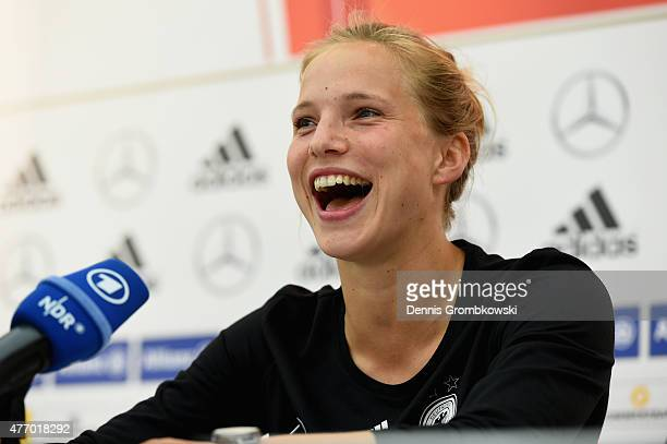 Tabea Kemme of Germany faces the media during a press conference at the RBC Convention Centre on June 13 2015 in Winnipeg Canada