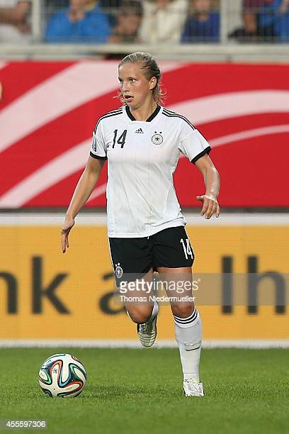 Tabea Kemme of Germany in action with the ball during the FIFA Women's World Cup 2015 qualifier between Germany and Ireland at VoithArena on...