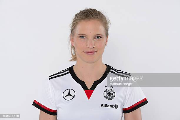 Tabea Kemme of Germany poses for a portrait during the DFB Women's Marketing Day at the CommerzbankArena on January 14 2015 in Frankfurt am Main...