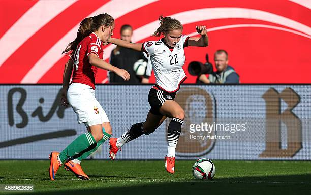 Tabea Kemme of Germany vies with Evelin Mosdoczi of Hungary during the UEFA Women's Euro 2017 Qualifier between Germany and Hungary at Erdgas...