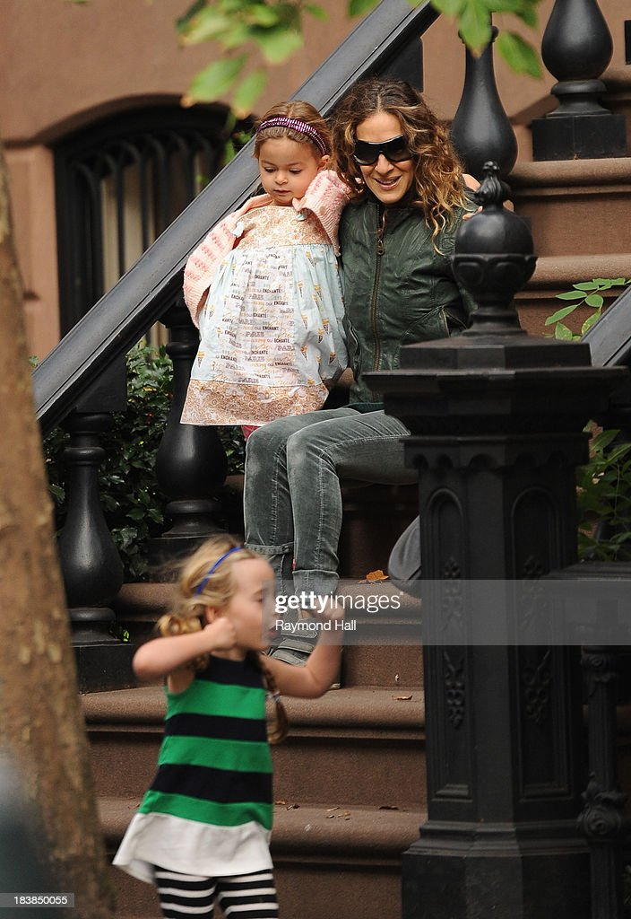 Tabitha Broderick, actress <a gi-track='captionPersonalityLinkClicked' href=/galleries/search?phrase=Sarah+Jessica+Parker&family=editorial&specificpeople=201693 ng-click='$event.stopPropagation()'>Sarah Jessica Parker</a> and Marion Broderick are seen in Soho on October 9, 2013 in New York City.