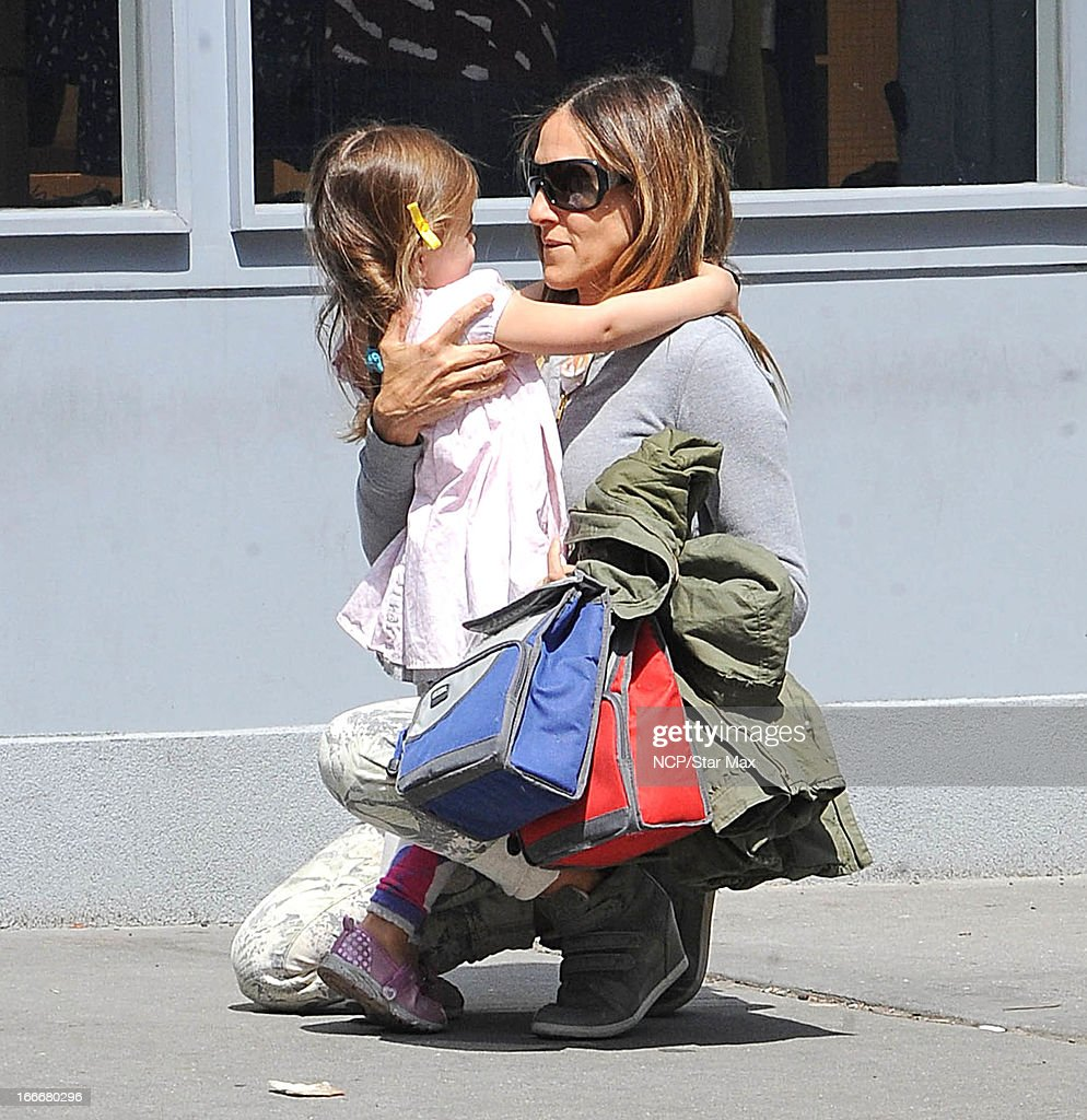 Tabitha Broderick and Sarah Jessica Parker as seen on April 15, 2013 in New York City.