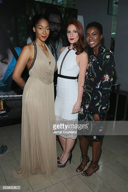 Tabitha Holbert Amy Halldin and Derica Cole Washington attends the premiere screening of 'Night One' of the four night epic event series 'Roots'...
