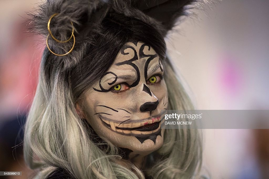 Tabitha Sheehan wears cat makeup at CatConLA, a convention to show cat-related products and ideas in art, design, and pop culture, on June 25, 2016 in Los Angeles, California. / AFP / DAVID