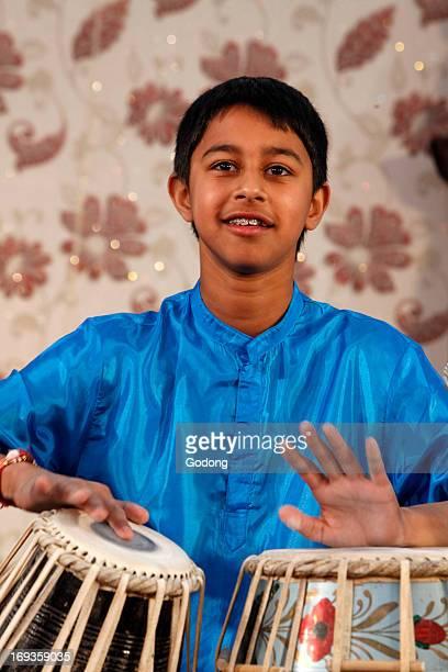Tabla player at Janmashtami festival at Bhaktivedanta Manor ISKCON temple