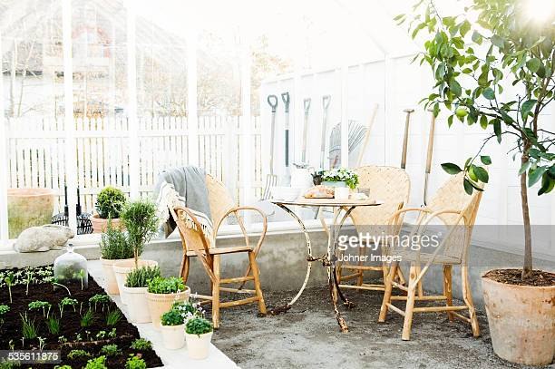 Table and chairs in conservatory